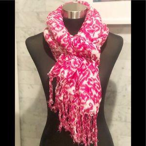 Saks Fifth Avenue Pink & White Ikat Scarf Sarong